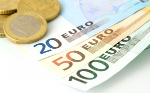 European Union banknotes and coins on white background. Euro currency. Euro coins. Euro banknote. 100 Euro. 50 Euro. 20 Euro. Euro bills. EU Bills